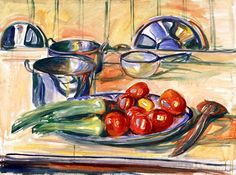 Still LIfe with Tomatoes, Leek and Casseroles Edvard Munch - 1926-1930