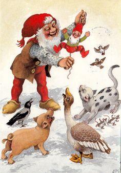 Mythological Creatures, Christmas Gnome, Fairy Land, Old Postcards, Scandinavian Christmas, Merry Xmas, Beautiful Christmas, Art Prints, Illustration