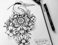 Grey heron / Tattoo design