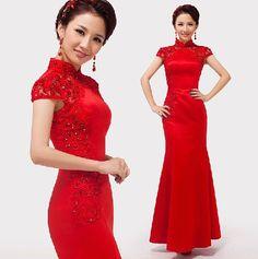 $106.29  Chinese Mermaid Floor-length Red Cheongsam Wedding Dresses