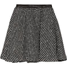 Alice + Olivia Audra leather-trimmed tweed mini skirt (£99) ❤ liked on Polyvore featuring skirts, mini skirts, saias, bottoms, faldas, black, black skirt, flared mini skirt, black mini skirt and short pleated skirt