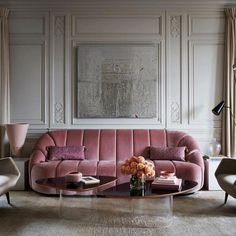Design by @atelier_am_inc, love the pink Pierre Paulin sofa!