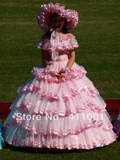 Pink southern bell dress....What the rest of the USA thinks we wear