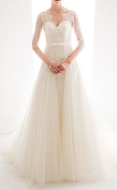 A-line/Princess Queen Anne Court Train Lace And Tulle Wedding Dress. Different sleeves or none and it would be perfect!