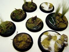 "Tutorial : Basing Miniatures Written by John ""Scarab"" Salmond, copied from ""terrainthralls"" Materials Needed : Dirt Water Whiteglue Static grass Tall grass Rocks Envirotex Sand Baking soda When working with a base you can change things up a bit by carving some of the base away for depth and character (A). In the example below"