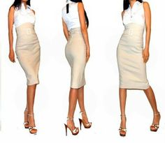 Tan High Waisted Pencil Skirt | Jill Dress