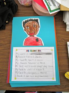 Every year for Open House I have my kids write autobiographies about themselves, and we do the WHOLE process (they feel sooo fancy working on their rough draft, and then writing their final draft!) We also step draw ourselves, and then trace with sharpie (of course!) and color in.