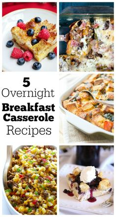 5 Overnight Breakfast Casserole Recipes : perfect for serving for breakfast or brunch when you have a busy house full of people to feed.