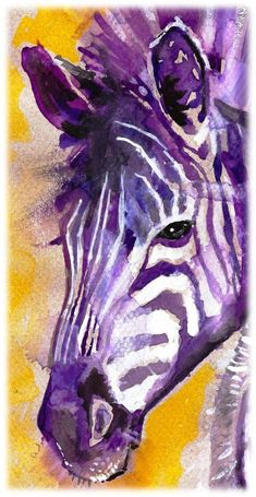 POSTER SIZED Zebra Watercolor Painting Print, Artist-Signed. $24.99, via Etsy.