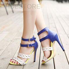 Color Block Rivet Heel Sandals . $23.39. Color Block Rivet Heel Sandals
