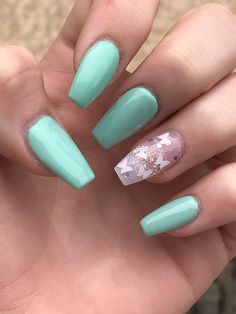 Mint Acrylic Nails, Mint Nail Art, Mint Green Nails, Mint Nail Designs, Butterfly Nail Designs, Cute Acrylic Nail Designs, Ten Nails, Nail Photos, Ballerina Nails