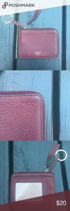 Fossil Maroon Leather Sydney Coin Purse Fossil Maroon Leather Sydney Zip Up Coin purse. Gently used. Does have signs of wear. Holds so much! Fossil Accessories Key & Card Holders