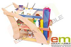 Carrito de madera con tres niveles y ruedas para el almacenamiento de accesorios de #manualidades, etc. - Tienda Educamueble. #Mobiliario #infantil para #colegios o centros de #educación para #niños