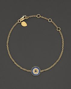 "Meira T 14 Kt. Yellow Gold/Diamond ""Evil Eye"" Bracelet 