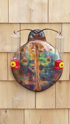 Ladybug  hummingbird  feeder Fire Bowls, Humming Bird Feeders, Hummingbird, Wind Chimes, Ladybug, Sculptures, Copper, Outdoor Decor, Painting