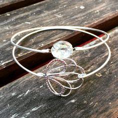 Silver stacking bangles with Swarovski crystal