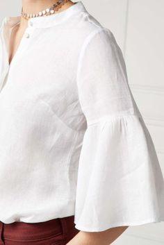 White Linen Sleeve Detail Shirt