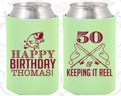 50th Birthday, 50th Birthday Party, Fisherman Birthday, Fishing Birthday Party, Birthday Can Coolers, Birthday Coolies (20066)
