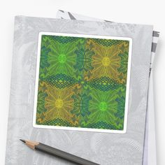 """""""""""Oak King"""", bohemian pattern in yellow and green tones"""" Stickers by clipsocallipso 