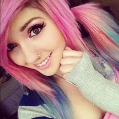 blue and pink pigtails #Leda Muir - Getting Snakebite Piercings http://stg.do/ofWe