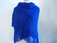 Dark Blue Triangular Shawl by Namaoy on Etsy, $60.00