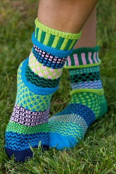 Water Lily Crew Socks - Part of Solmate's Vermont Garden series, these gorgeous cotton socks are soothing mix of cool blues and soft greens, with a subtle hint of a pale pink. Thigh High Boots Heels, Thigh High Socks, Heel Boots, Thigh Highs, Funky Socks, Colorful Socks, Fair Isle Knitting, Knitting Socks, Knit Socks