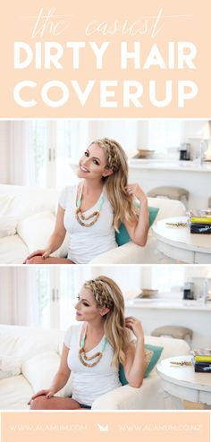 Mom shows the final look of the double dutch braid hair tutorial while wearing a silicone nursing necklace for mom