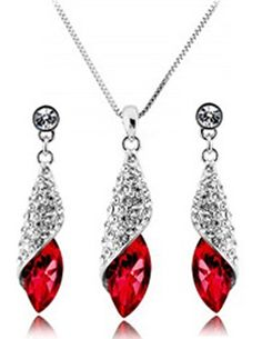These stunning crystal sets are beautifully designed in the shape of a water drop with a large crystal that gives them a very romantic style perfect wedding jewellery. For effortless accessorising, slip on this gorgeous set of crystal & rhinestones drop earrings and necklace. These glittery gems add an elegant touch to make you sparkle and shine at any party. #christmasgiftideas #christmasgifts