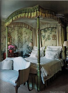 """Jete de Fleurs taupe bed linens are shown on an 18th century style canopy bed in a master bedroom designed by interior design firm McMillen Inc. - NY Magazine """"Design Hunting"""" 2014"""