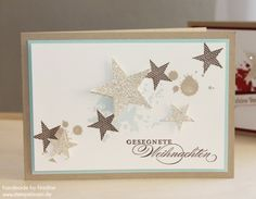 kraft and white witha bit of pale blue … spray st… handmade Christmas Card ….kraft and white witha bit of pale blue … spray stars stamped or die cut from glitter paper … pale grunge stamping background … Stampin' Up! Winter Cards, Holiday Cards, Christmas Cards, Christmas Star, Christmas Birthday, Stampin Up Christmas, Handmade Christmas, Stampin Up Weihnachten, Karten Diy