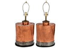 French Copper Sprayer Tank Lamps, Pair