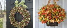 Inspired by Charm: door decor giveaway from ever blooming originals {ended} Garden Front Of House, Inspired By Charm, Holiday Crafts, Holiday Decor, Spring Door, Outdoor Halloween, Front Door Decor, Porch Decorating, Door Wreaths