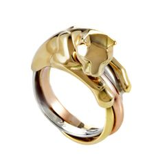 Cartier Panthere Three Color Gold Ring | From a unique collection of vintage more rings at https://www.1stdibs.com/jewelry/rings/more-rings/