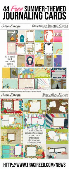 44 Free Journaling Cards {33 3×4 journaling cards and 11 4×6 photo cards} for your Summer Staycation! #projectlife #journalcards