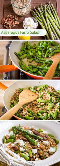 Asparagus Farro Salad - Very tasty. Roasted the cut asparagus at 400 for 8min, omitted shallot from sauce in favor of garlic powder. Used walnuts instead of pecans, either would do well. Didn't use feta due to picky family, but it would defiantly enhance the flavor. A keeper, but maybe a tad too complicated for a weeknight.