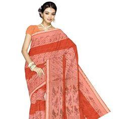 UNM3859-Pretty corporate orange handloom Bengal cotton saree without blouse