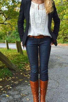 Dark Blue Jeans With Black Coat,Long Boots And Lace Shirt