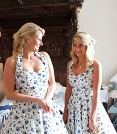 Floral bridesmaid dresses. Need help with any aspects of wedding planning or styling? visit www.rosetintmywedding.co.uk #floralbridesmaid #countrywedding