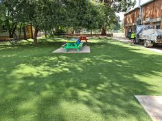 This synthetic grass job was completed at Napean Creative and Performing Arts High School in Emu Plains, making a nice eating and relaxing area for the students. #syntheticgrass #playground #schoolyard #softfall #fakegrass #play #transform Fake Grass, Commercial Flooring, Central Coast, Emu, Performing Arts, Wet And Dry, Pavement, Newcastle, Rainbow Colors