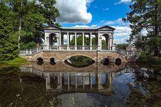 Marble Bridge in Catherine Park in Tsarskoye Selo (Pushkin), south of St Petersburg, Russia