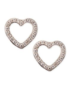 Y25QH KC Designs White Gold Diamond Heart Stud Earrings