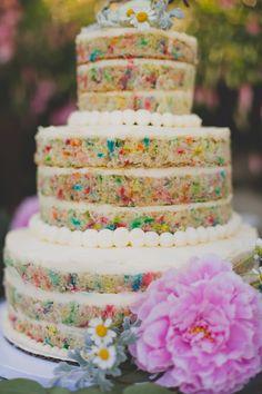 Sweet table- Naked Funfetti wedding cake