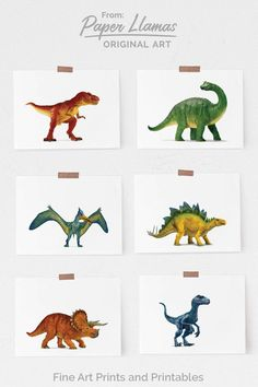 dinosaur art Hello there, this listing is for a set of six unframed art prints. You can pick the size of your prints from the drop down menu at check out. The sizes listed indicate the s Minimalist Nursery, Baby Room Colors, Dinosaur Art, Canvas Paper, T Rex, Girl Rooms, Boy Room, Kids Room, Art Prints