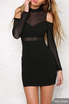 See-through Long Sleeves Mini Dress with Cut Out Details