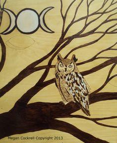 Owl Original Owl Wood Burning Art on wood panel by vicillascauldron, $95.00