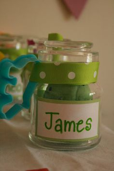 Cute favor idea - homemade Play-Doh with cookie cutter.