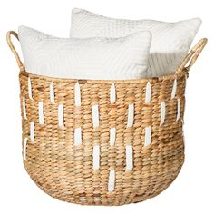 Pretty storage basket ($34.99) The white details should be easy to diy.