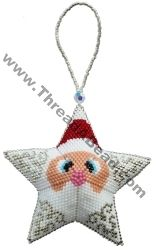 3D Santa Star Ornament Pattern Bead Pattern By ThreadABead