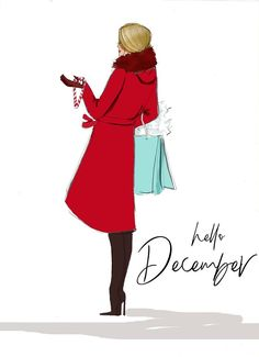 Fashion Illustration Wallpaper Style New Ideas Christmas Quotes, Christmas Art, Christmas Fashion, Christmas Colors, December Images, December 1st Quotes, Hello Winter, New Month, Jolie Photo