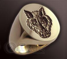 Wolf Face custom made wax seal ring